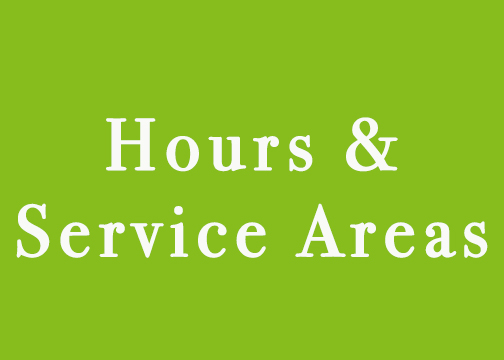 front page blocks hours and service areas