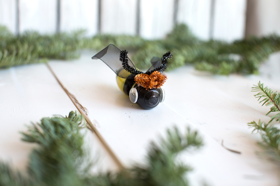 Recycled Bee ornaments